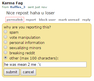 Redditors get angry over reposts.
