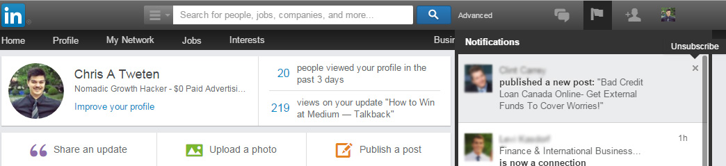 unfollowing people on LinkedIn and disabling notifications