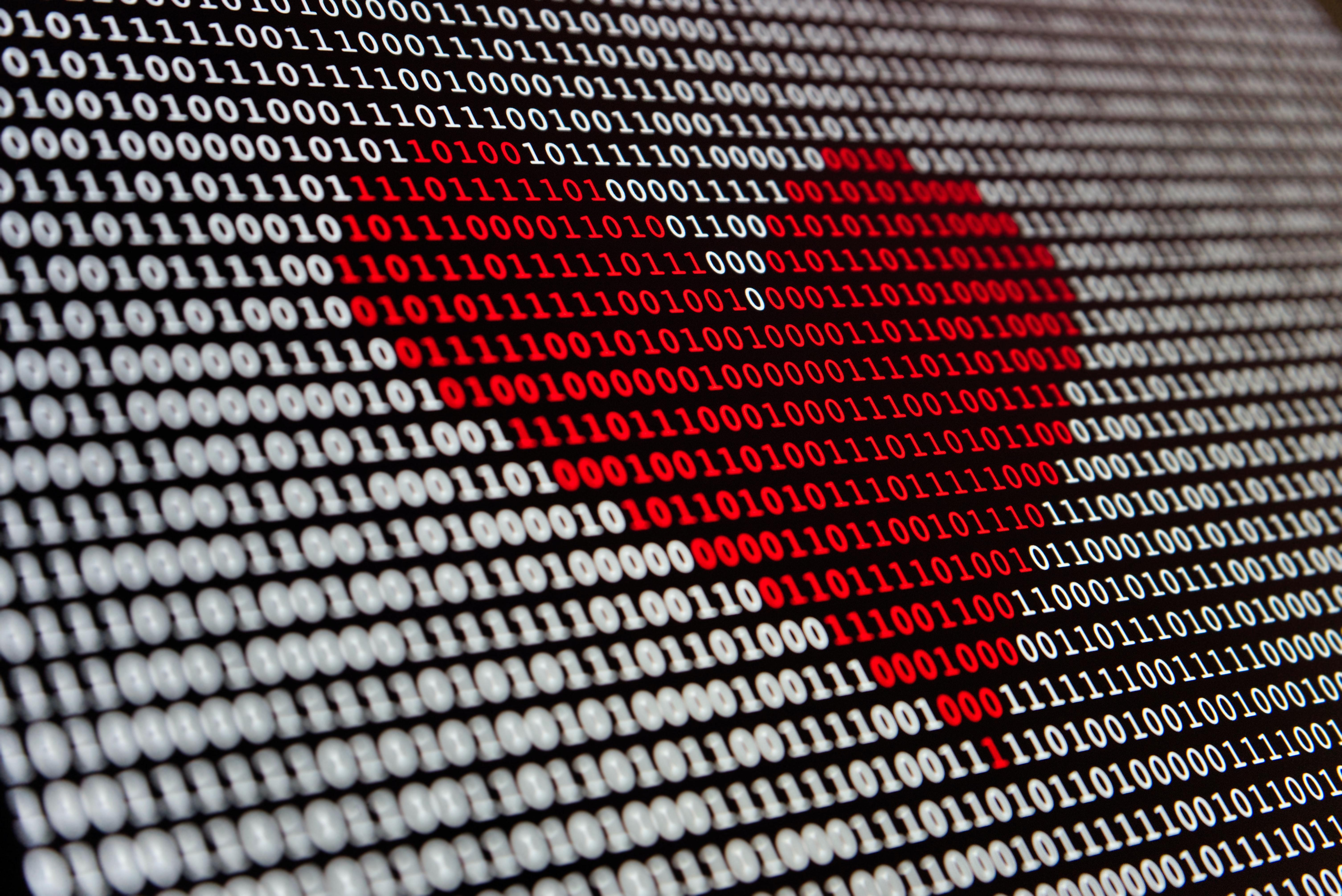 binary data heart shape