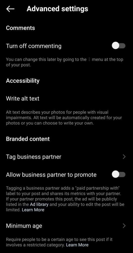 adding alt text to instagram posts